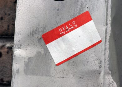 Hello My Name is Sticker on concrete wall