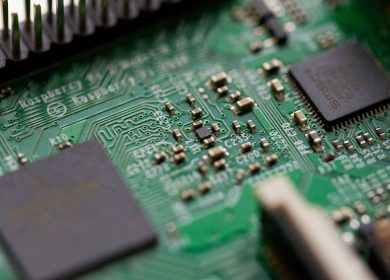 Close view of a microchip and board