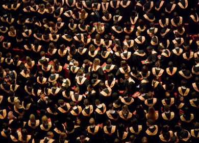 Crowd of Graduates view from top
