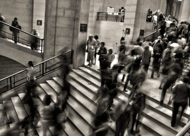 View of people on large public staircase