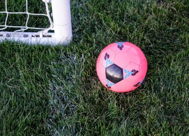 Pink soccer ball on grass next to the corner of a goal