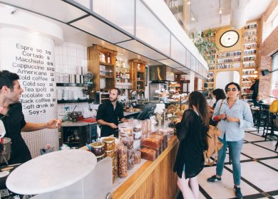 People at a cafe counter
