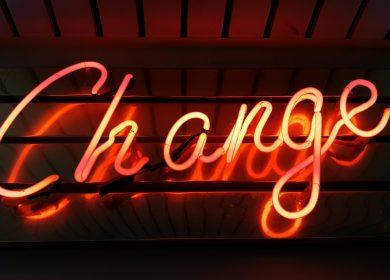 Change written in orange neon light
