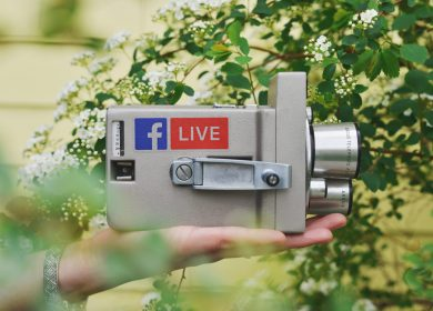 Hand holding camera within the trees